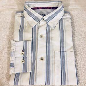 Tommy Bahama White & Navy Stripe Shirt L